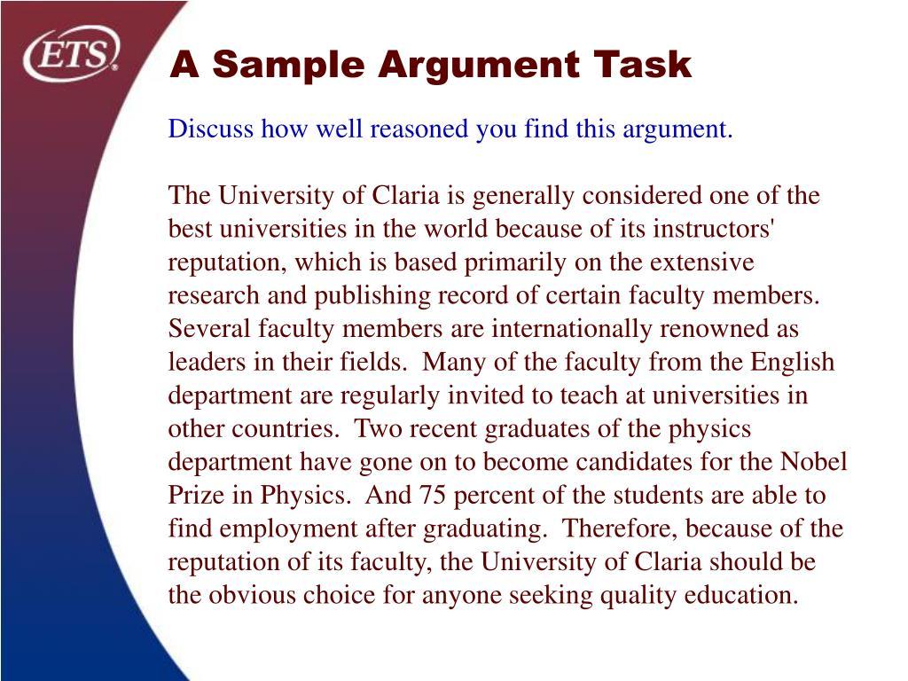 A Sample Argument Task