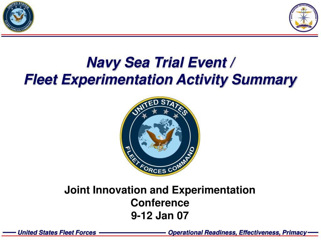 navy sea trial event fleet experimentation activity summary l.