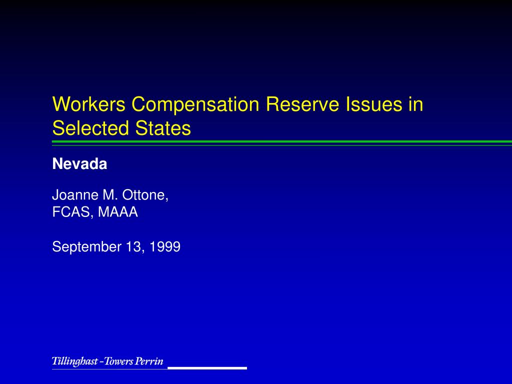 workers compensation reserve issues in selected states l.