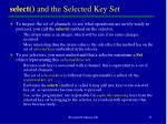 select and the selected key set