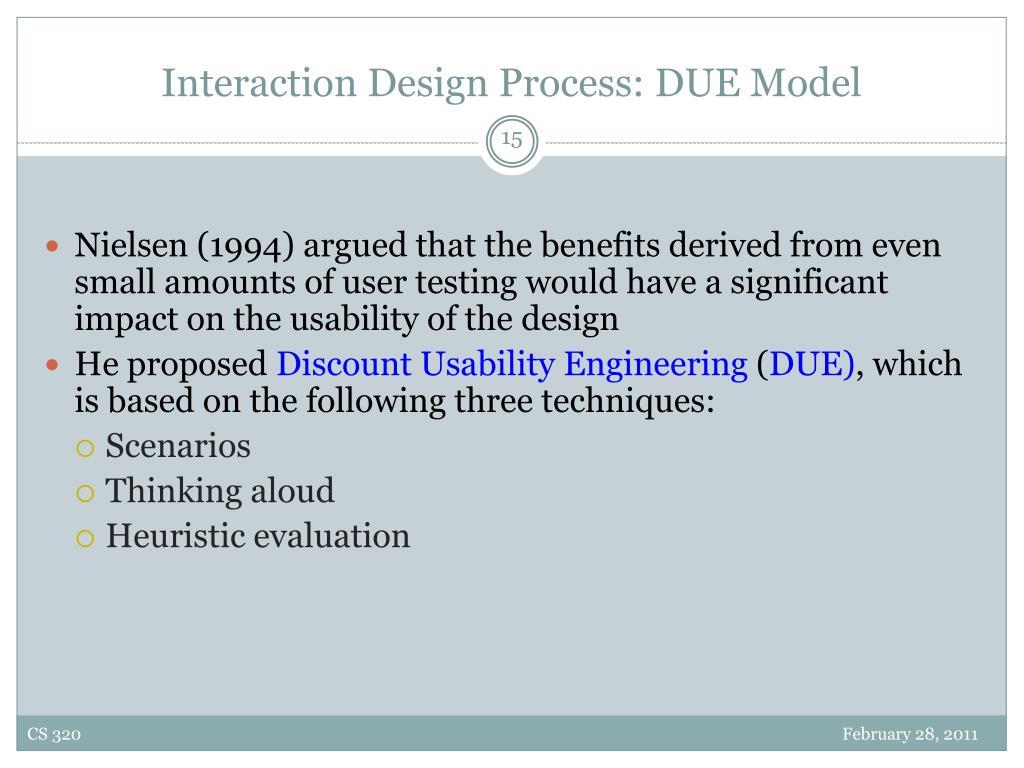 Interaction Design Process: DUE Model