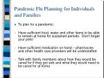 pandemic flu planning for individuals and families