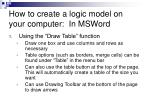 how to create a logic model on your computer in msword