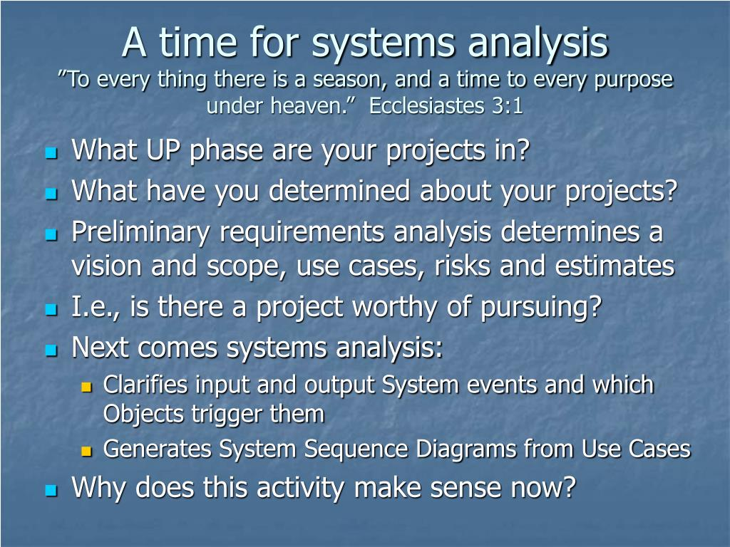 A time for systems analysis
