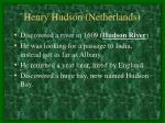 henry hudson netherlands