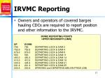 irvmc reporting