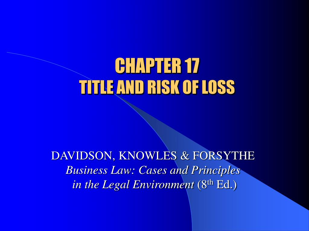 chapter 17 title and risk of loss l.