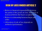 risk of loss under article 2