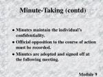 minute taking contd