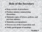 role of the secretary