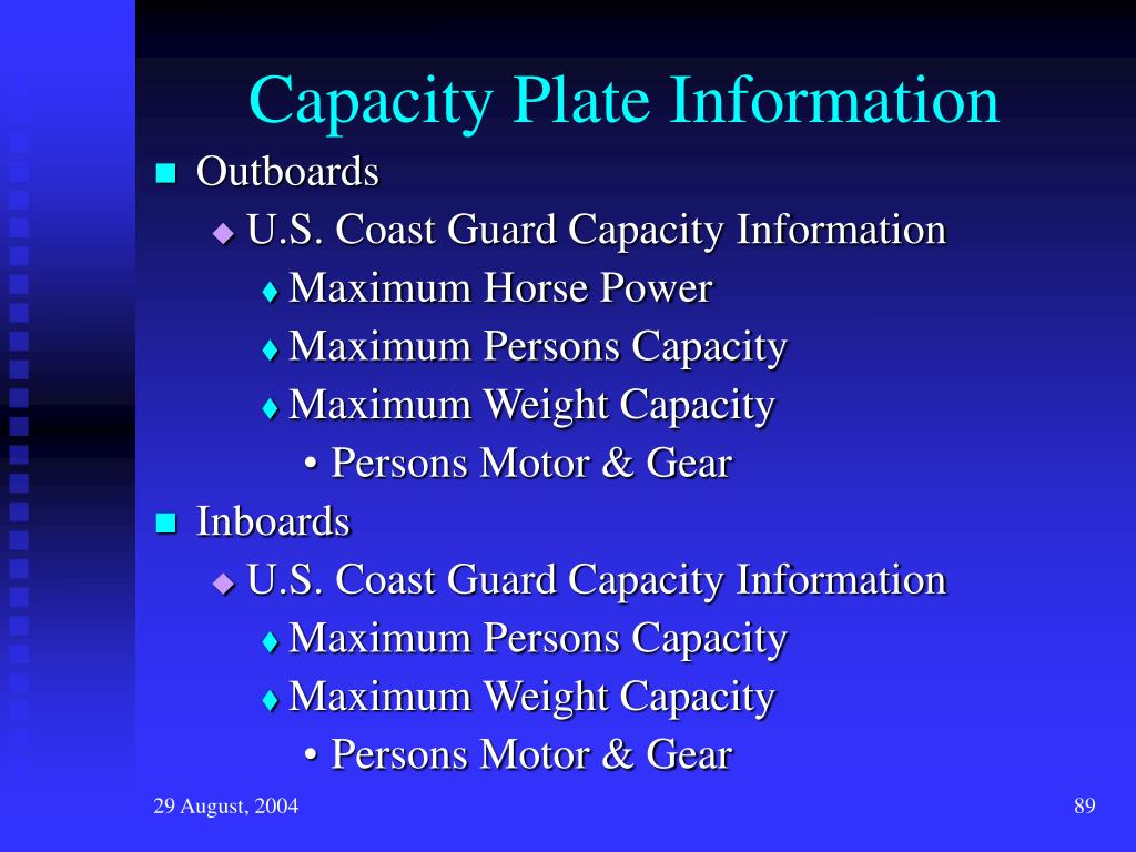 Capacity Plate Information