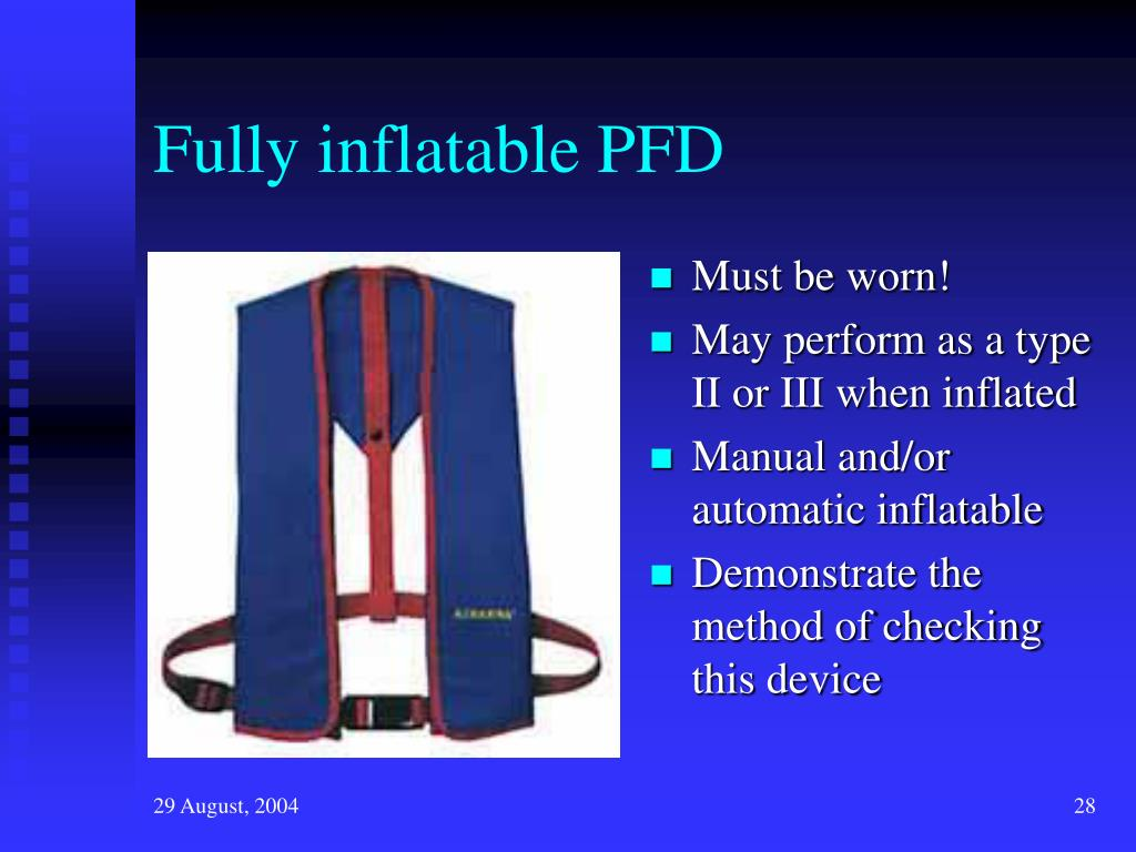 Fully inflatable PFD