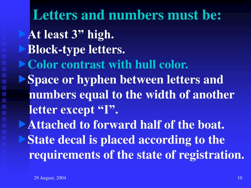 Letters and numbers must be: