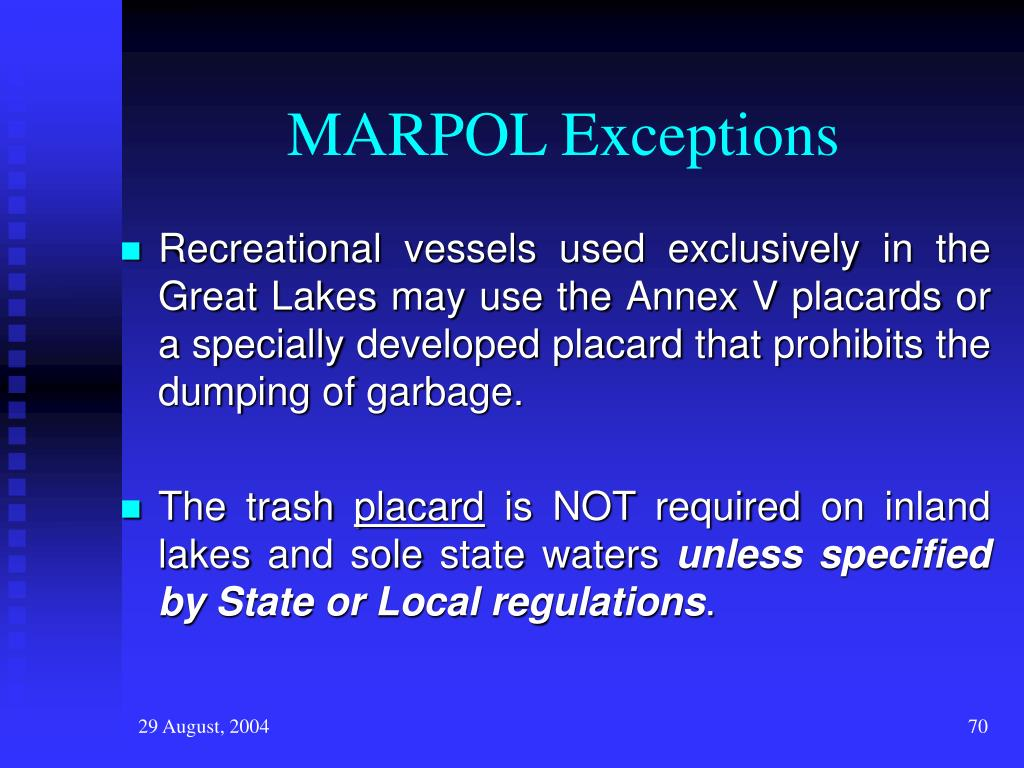 MARPOL Exceptions