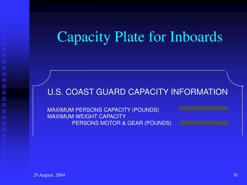 Capacity Plate for Inboards