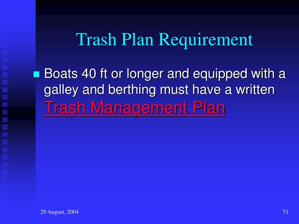 Trash Plan Requirement