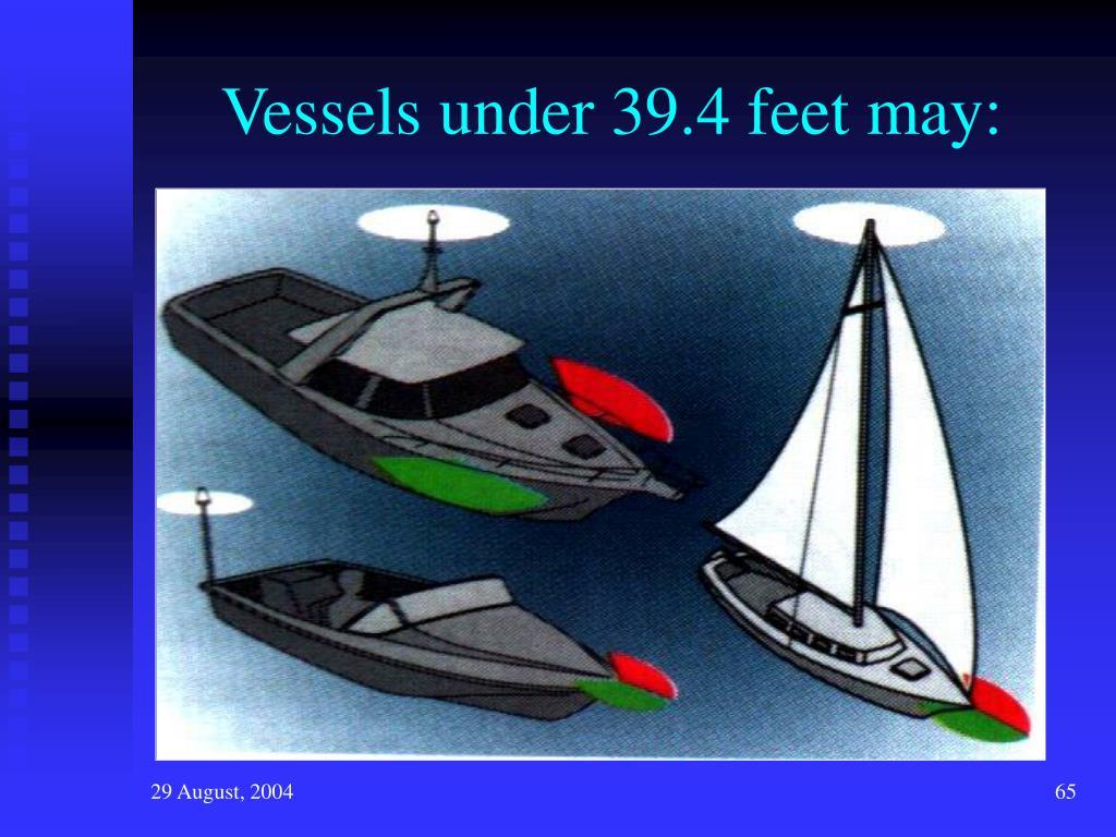 Vessels under 39.4 feet may: