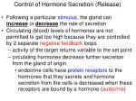 control of hormone secretion release
