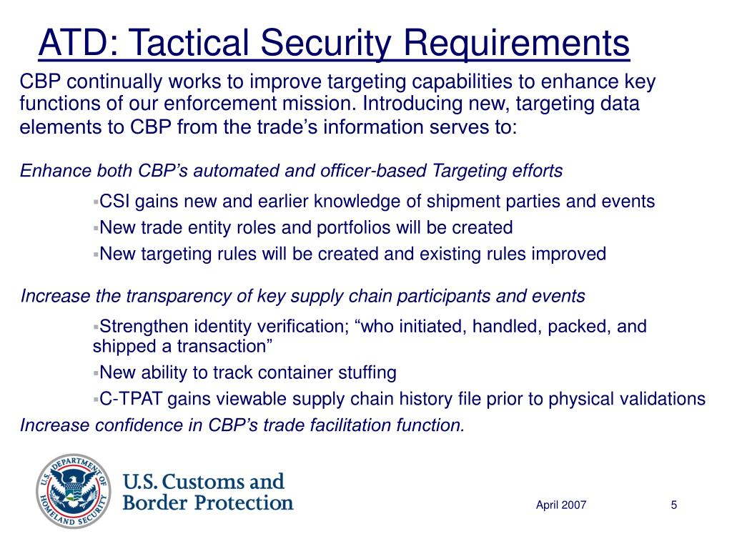 ATD: Tactical Security Requirements