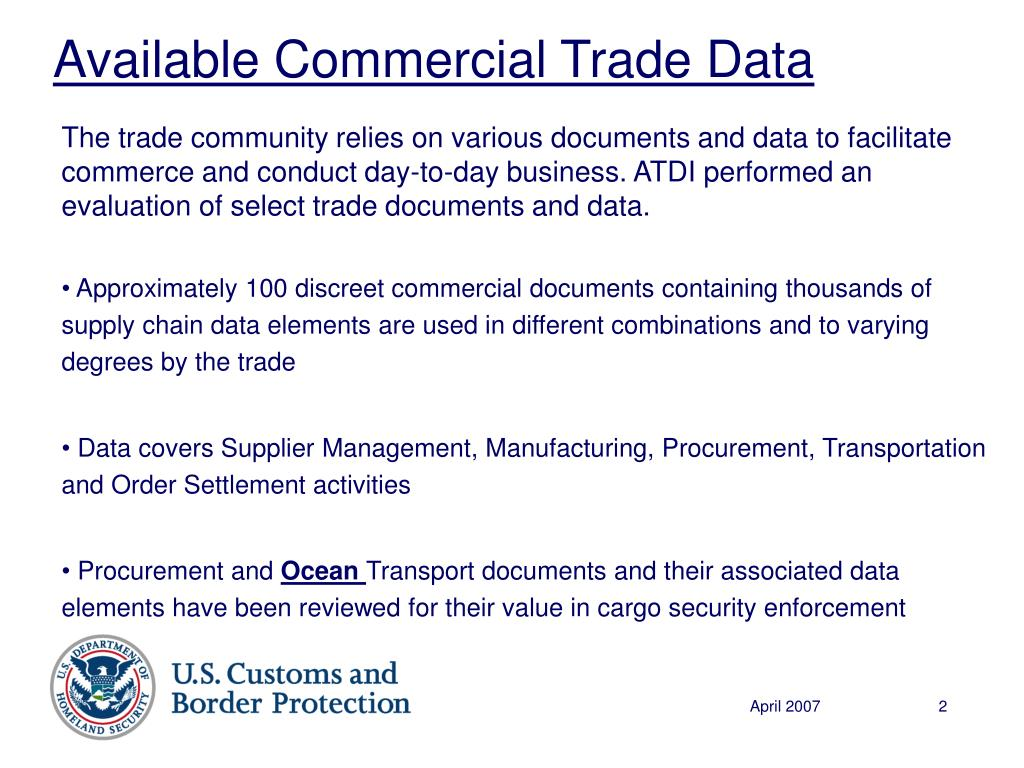 Available Commercial Trade Data
