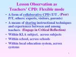lesson observation as teachers cpd flexible mode