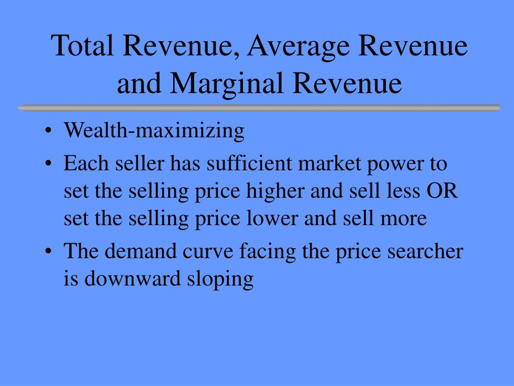 total revenue average revenue and marginal revenue l.