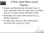 a note about meta search engines
