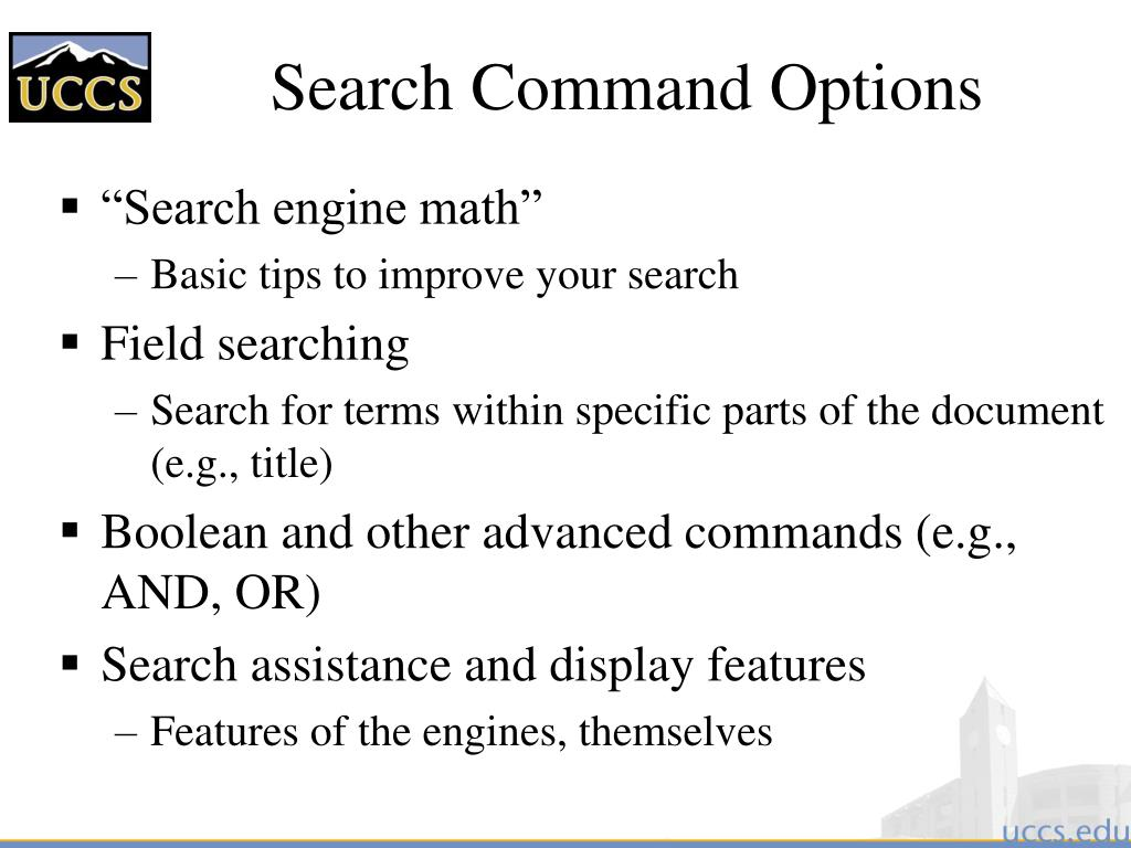 Search Command Options
