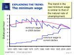 explaining the trend the minimum wage
