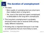 the duration of unemployment