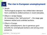 the rise in european unemployment