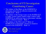 conclusions of cg investigation contributing causes