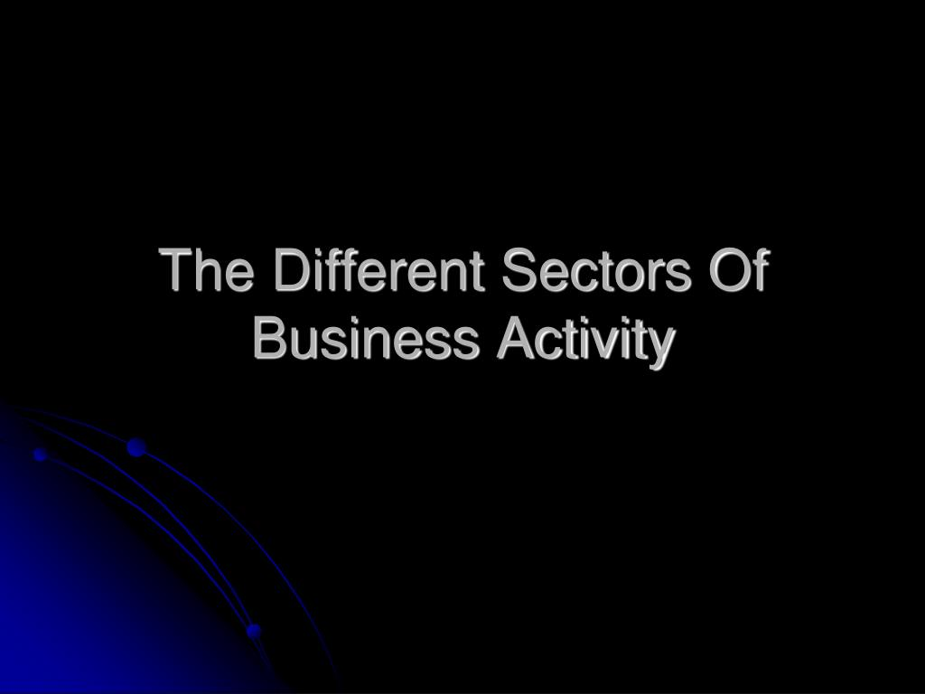 the different sectors of business activity l.