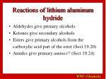 reactions of lithium aluminum hydride