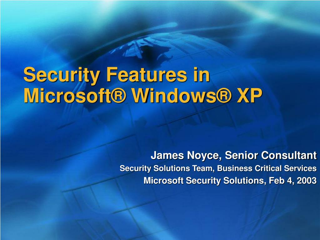 security features in microsoft windows xp l.