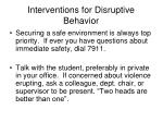 interventions for disruptive behavior