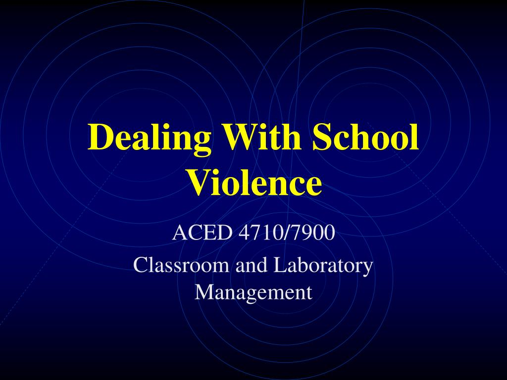 dealing with school violence l.