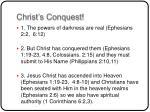 christ s conquest