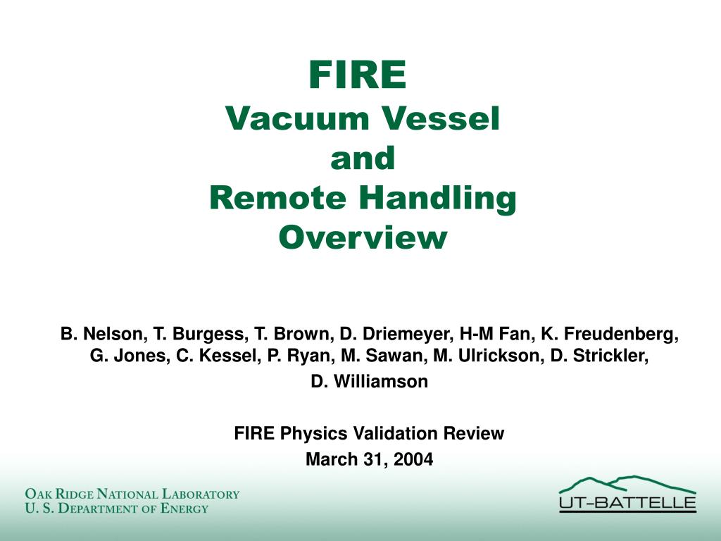 fire vacuum vessel and remote handling overview l.