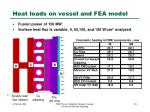 heat loads on vessel and fea model