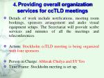 4 providing overall organization services for cctld meetings