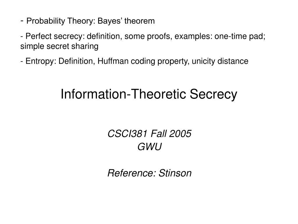 information theoretic secrecy l.