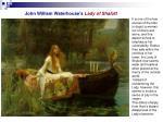 john william waterhouse s lady of shalott