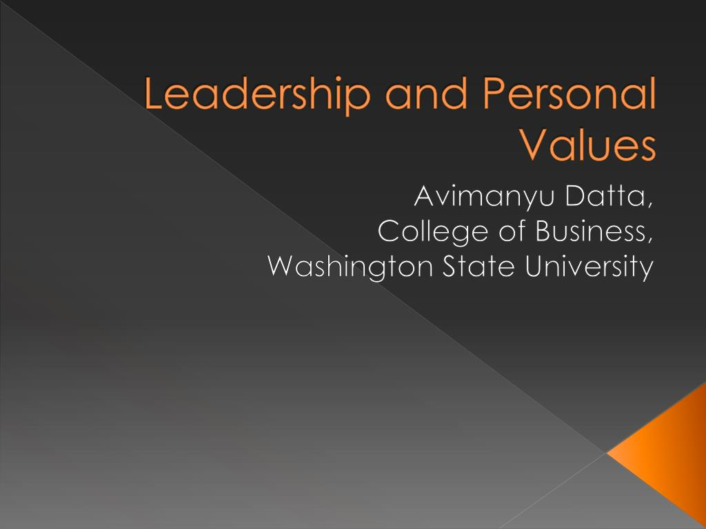 Leadership and Personal Values