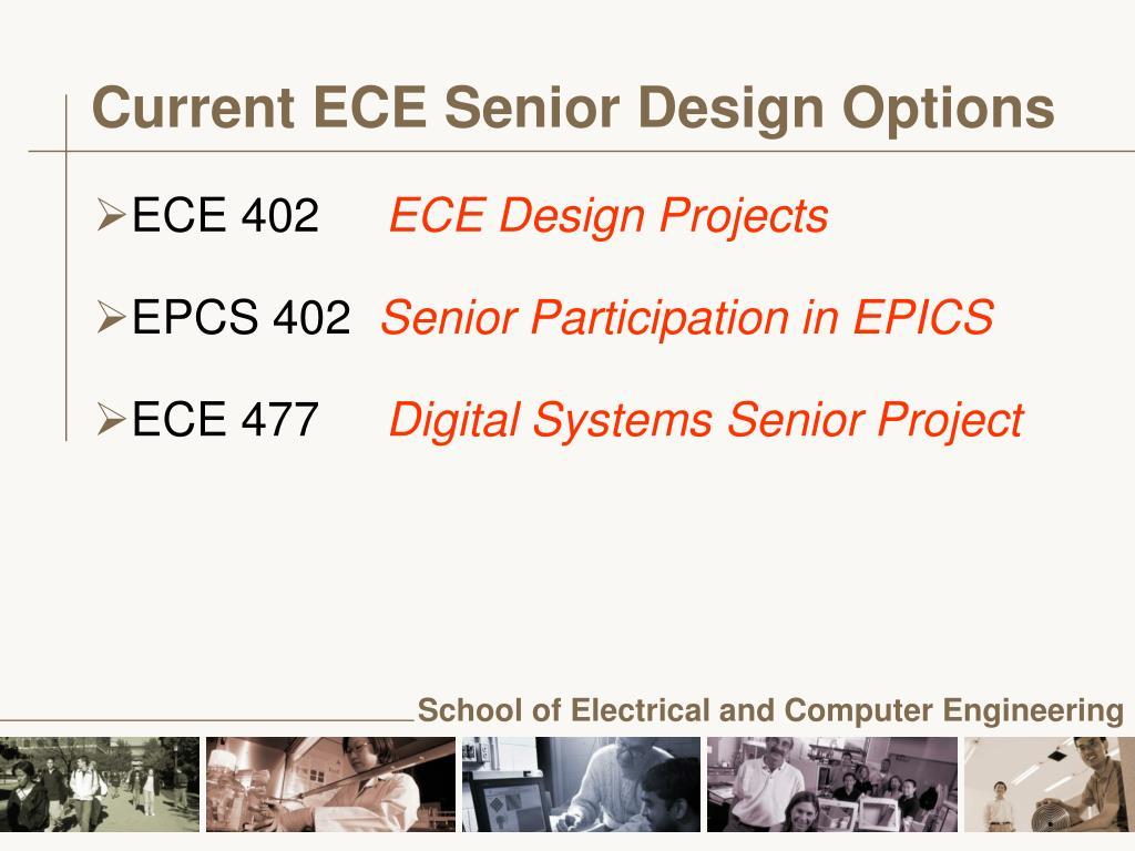 Current ECE Senior Design Options