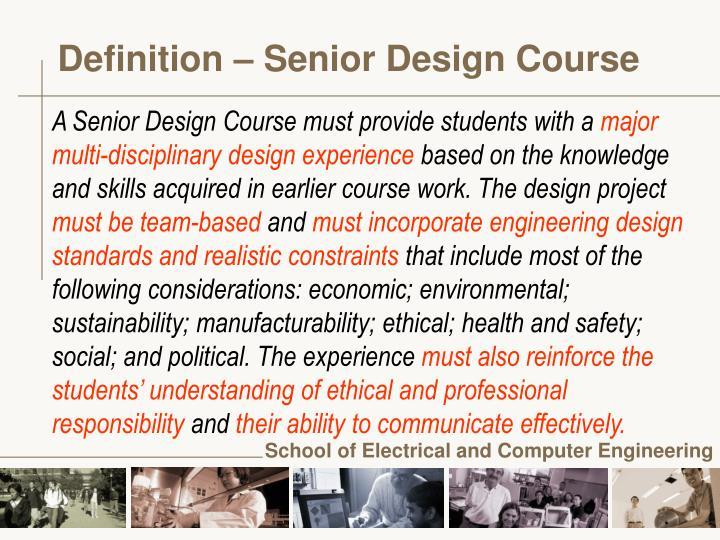 Definition senior design course