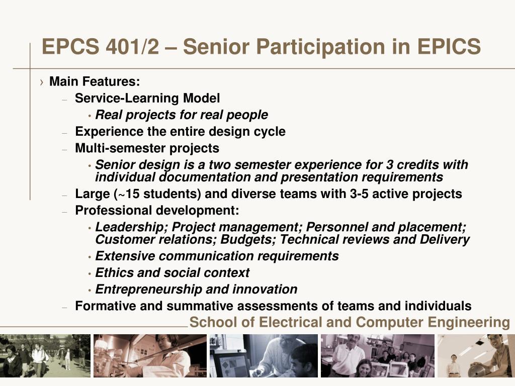EPCS 401/2 – Senior Participation in EPICS