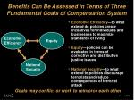 benefits can be assessed in terms of three fundamental goals of compensation system