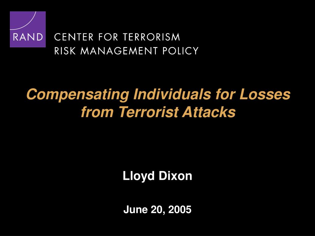 compensating individuals for losses from terrorist attacks l.