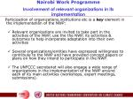 nairobi work programme involvement of relevant organizations in its implementation